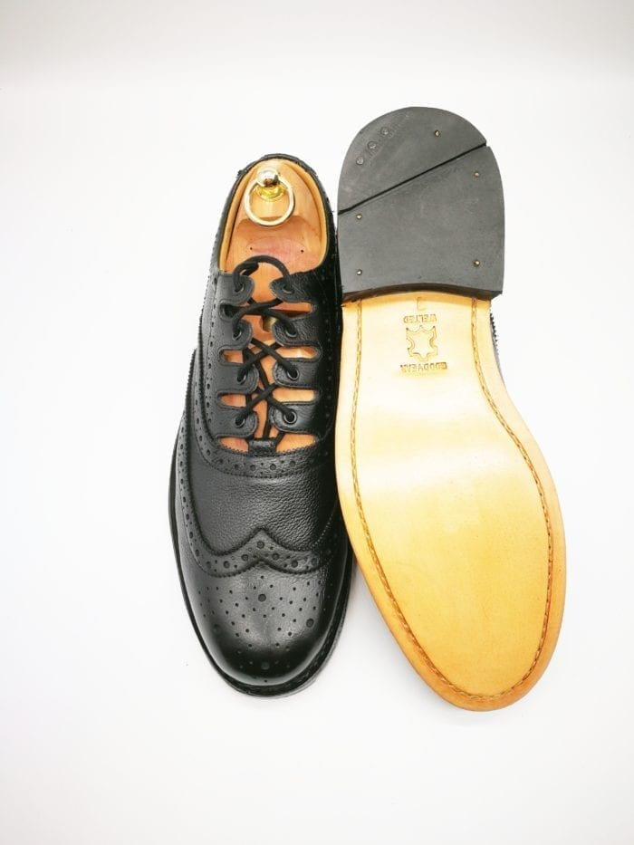Grained ghillie brogue goodyear welted