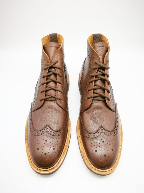 Brown Brogue boot rubber sole