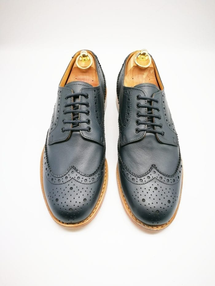 Navy brogue leather sole