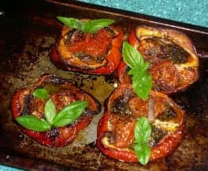 Pesto peppers after roasting